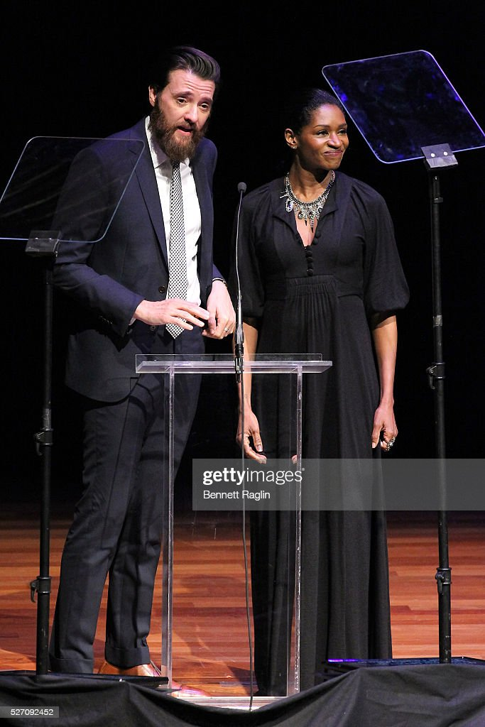 Jenny Jules (R) speaks onstage during the 31st Annual Lucille Lortel Awards at NYU Skirball Center on May 1, 2016 in New York City.