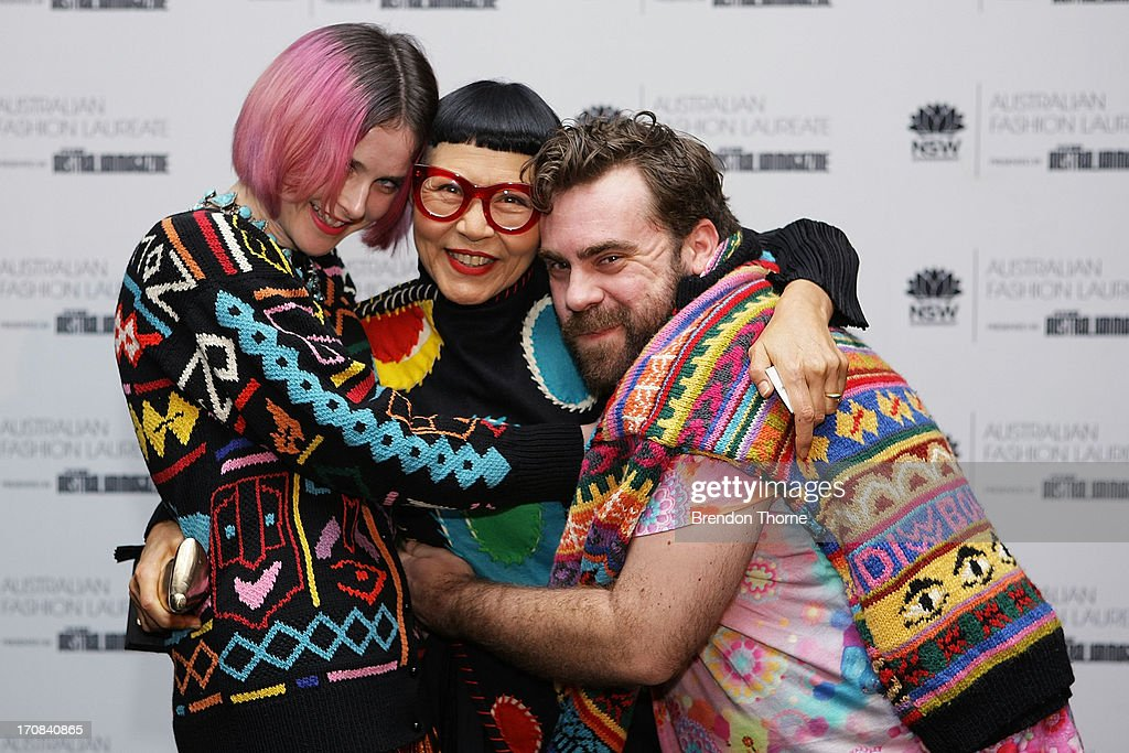 Jenny Kee celebrates with Anna Plunkett and Luke Sales of Romance Was Born after winning the Australian Fashion Laureate Award at the Pullman Grand Quay Hotel on June 19, 2013 in Sydney, Australia.
