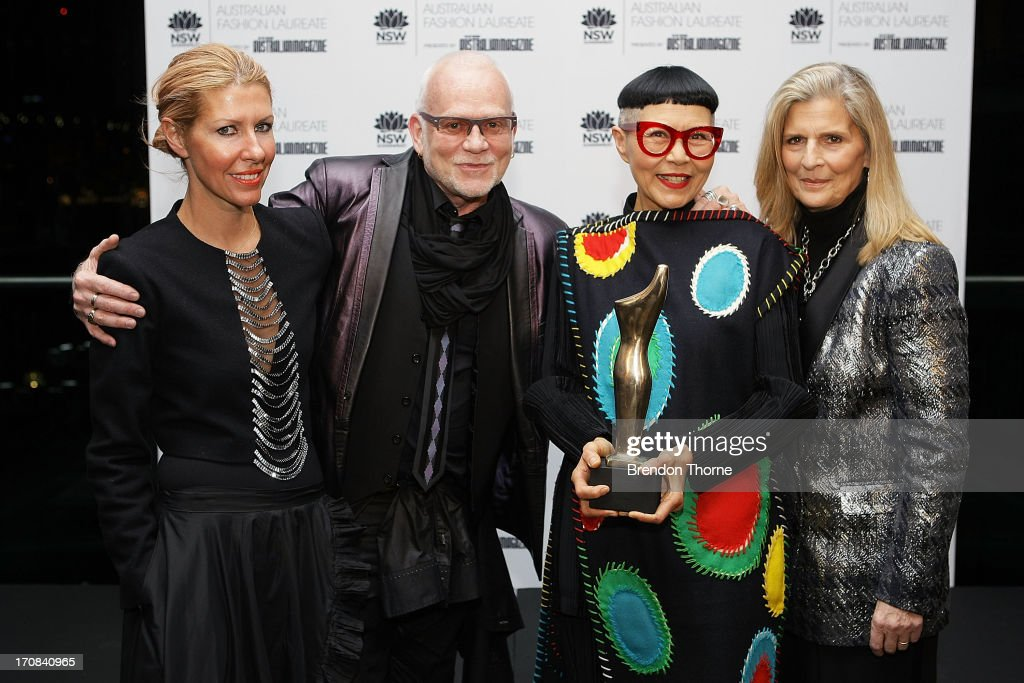 Jenny Kee poses with fellow nominees, Heidi Middleton, Nicholas Huxley and Nancy Pilcher after winning the Australian Fashion Laureate Award at the Pullman Grand Quay Hotel on June 19, 2013 in Sydney, Australia.