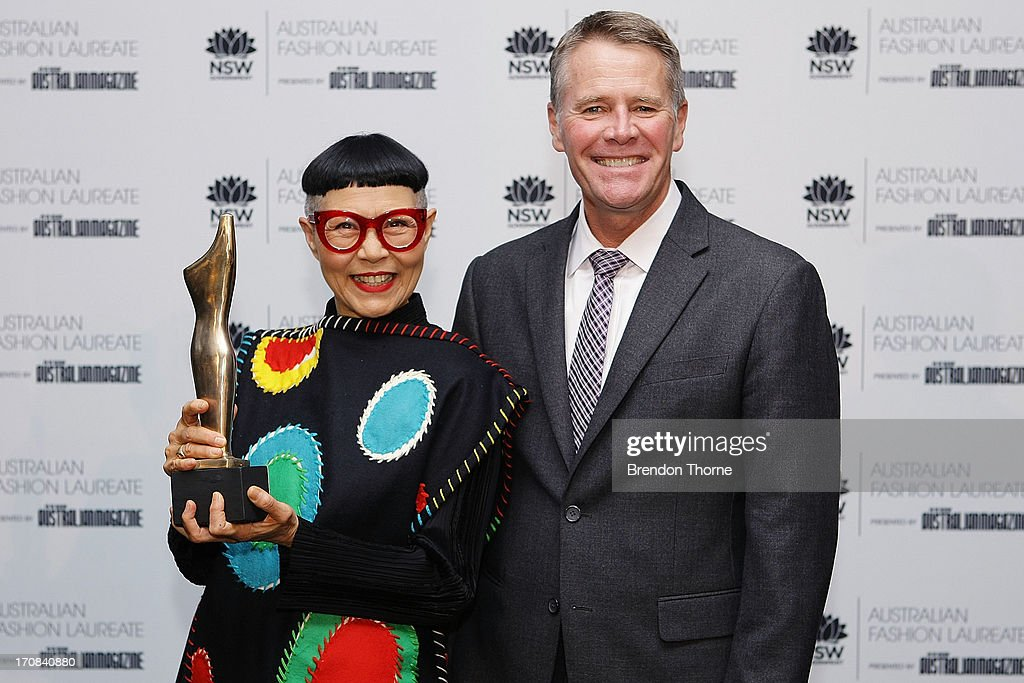 Jenny Kee poses with NSW Deptuy Premier, Andrew Stoner after winning the Australian Fashion Laureate Award at the Pullman Grand Quay Hotel on June 19, 2013 in Sydney, Australia.