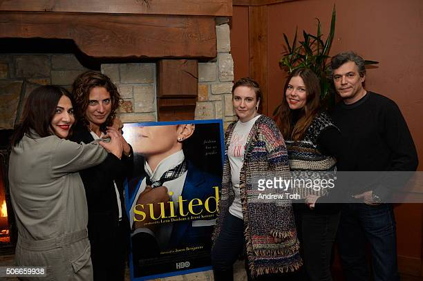 Jenny Konner Stacy Rice Lena Dunham Erica Nagel and Jason Benjamin attend the HBO Documentary Films Sundance Party 2016 on January 24 2016 in Park...