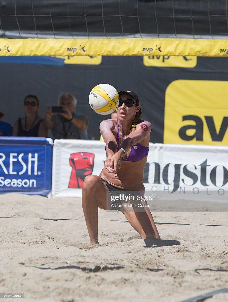 Huntington beach california stock photos and pictures getty images - Jenny Kropp Goess Digs For The Ball During The Kingston Avp Championships At Huntington Beach