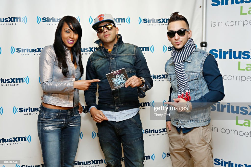 Jenny La Sexy Voz, Chiko Swagg and Boy Wonder visit the SiriusXM Studios on October 30, 2013 in New York City.