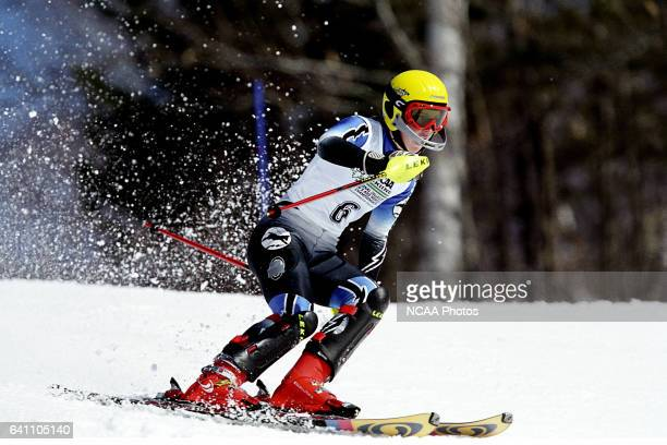 Jenny Lathrop of Colby College races to a second place finish in the women's slalom during the Division 1 Women's Skiing Championship held at the...