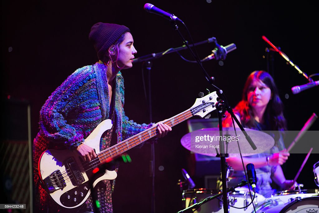 Jenny Lee Lindberg and Stella Mozgawa of Warpaint performs at the National Concert Hall on August 23 2016 in Dublin Ireland