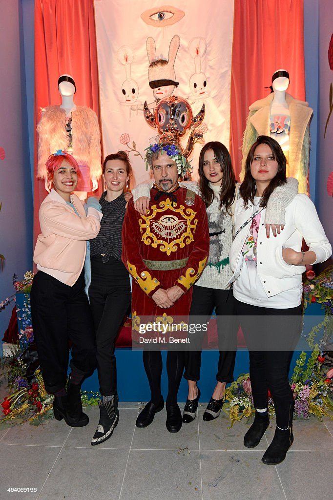 Jenny Lee Lindberg, Emily Kokal, artist Gary Baseman, Theresa Wayman and Stella Mozgawa of Warpaint attend the Coach X Serpentine The Future Contemporaries Party at The Serpentine Sackler Gallery on February 21, 2015 in London, England.
