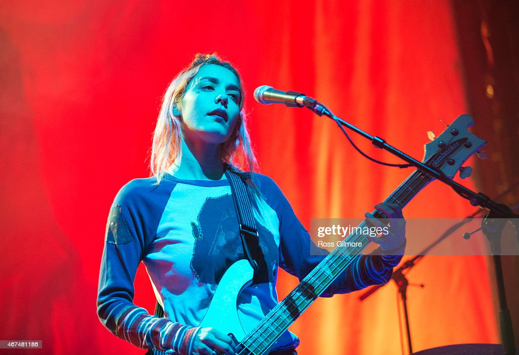 Jenny Lee Lindberg of American band Warpaint performs on stage at O2 ABC Glasgow on March 24 2015 in Glasgow United Kingdom