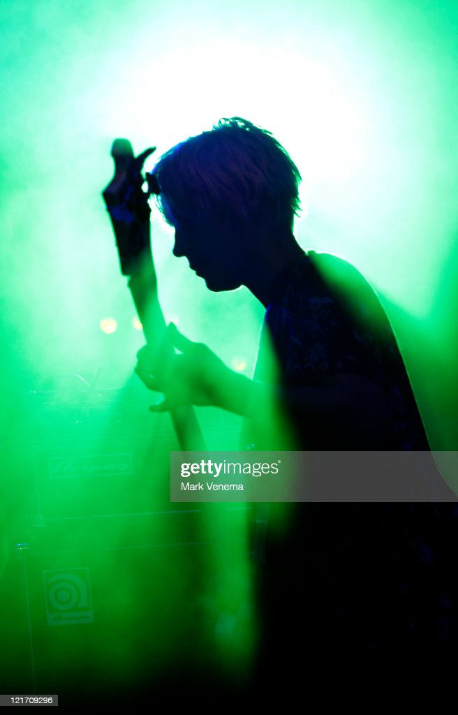 Jenny Lee Lindberg of Warpaint performs on day three of Lowlands Festival on August 21 2011 in Biddinghuizen Netherlands