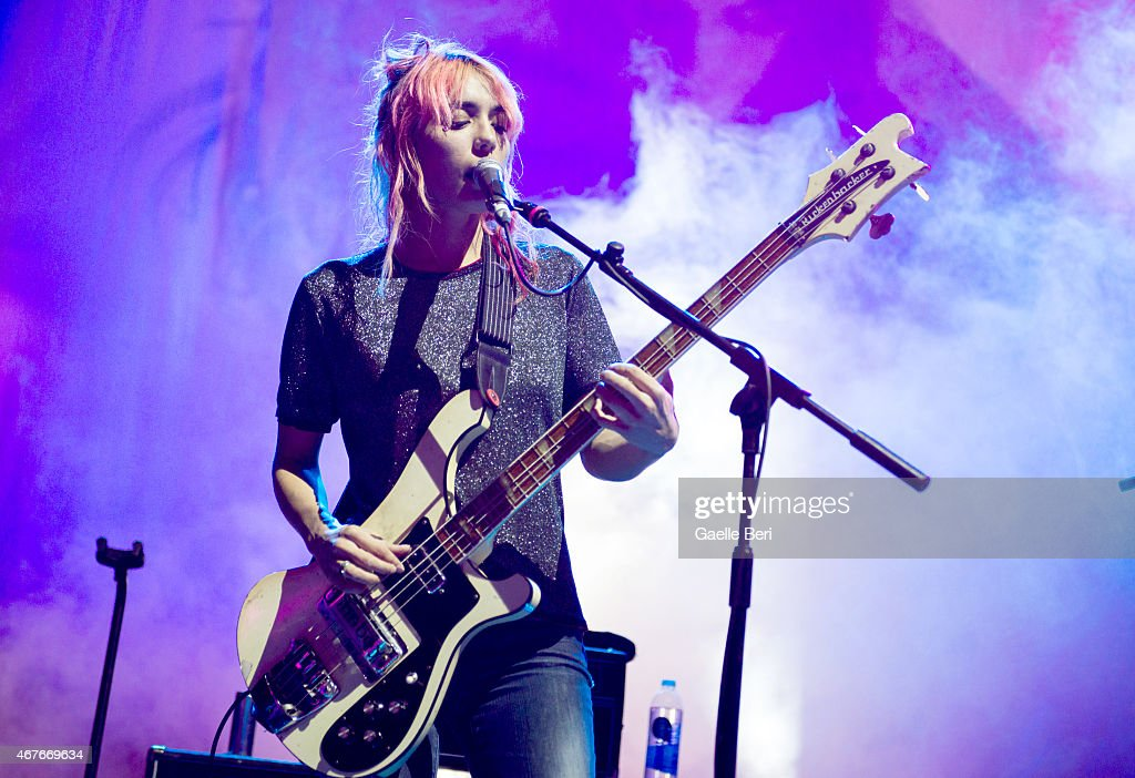 Jenny Lee Lindberg of Warpaint performs on stage at Eventim Apollo on March 26 2015 in London United Kingdom