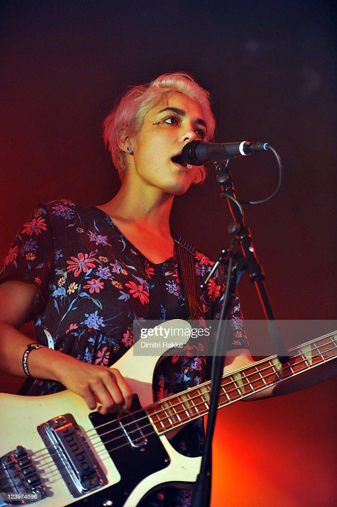 Jenny Lee Lindberg of Warpaint performs on stage at Lowlands Festival on August 21, 2011 in Biddinghuizen, Netherlands.