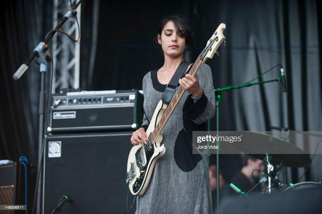 Jenny Lee Lindberg of Warpaint performs on stage during BBK Live at Kobetamendi on July 13, 2012 in Bilbao, Spain.