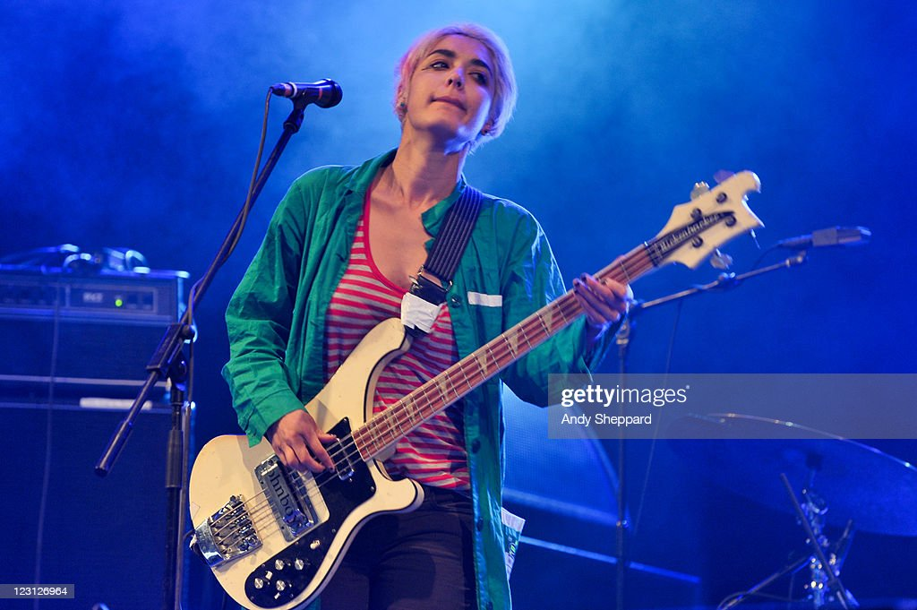Jenny Lee Lindberg of Warpaint performs on stage during Day 3 of Reading Festival 2011 at Richfield Avenue on August 28 2011 in Reading United Kingdom