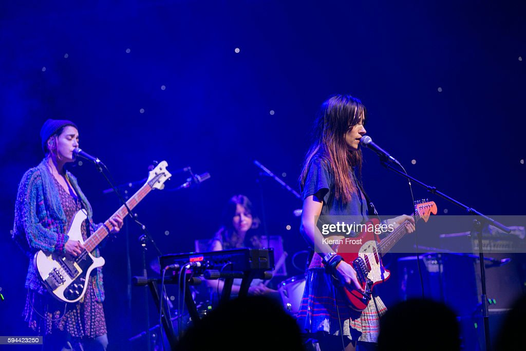 Jenny Lee Lindberg Stella Mozgawa and Theresa Wayman of Warpaint performs at the National Concert Hall on August 23 2016 in Dublin Ireland