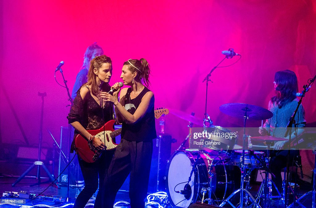 Jenny Lee Lindberg Theresa Wayman Emily Kokal and Stella Mozgawa of American band Warpaint performs on stage at O2 ABC Glasgow on March 24 2015 in...