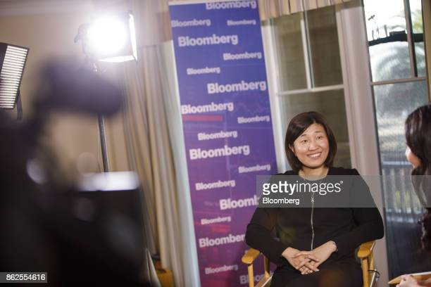 Jenny Lee managing partner of GGV Capital smiles during a Bloomberg Television interview on the sidelines of the Wall Street Journal DLive global...