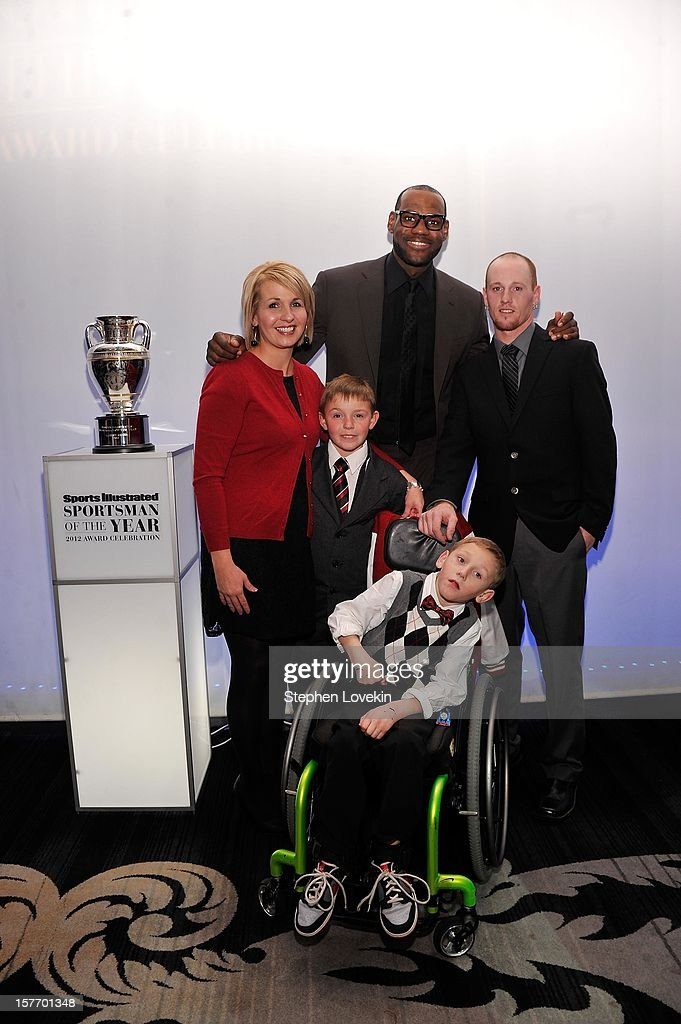 Jenny Long, 2012 Sportskid Conner Long (L), 2012 Sportsman of the Year LeBron James, Cayden Long and Jeff Long attend the 2012 Sports Illustrated Sportsman of the Year award presentation at Espace on December 5, 2012 in New York City.