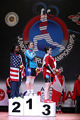 Jenny Lyvette of US A Junior World Champion Anastsiya Shvabauer of Kazakhstan A and Johanie Filiatreault of Canda A in the podium of Women's 75kg...
