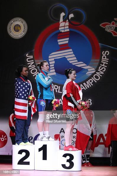 Jenny Lyvette of US A Junior World Champion Anastsiya Shvabauer of Kazakhstan A and Johanie Filiatreault of Canda A in the podium of Women's 75kg...