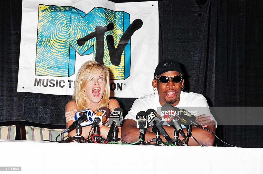 Jenny McCarthy and <a gi-track='captionPersonalityLinkClicked' href=/galleries/search?phrase=Dennis+Rodman&family=editorial&specificpeople=202643 ng-click='$event.stopPropagation()'>Dennis Rodman</a> during MTV TCA Pasadena 1996 in Pasadena, California, United States.