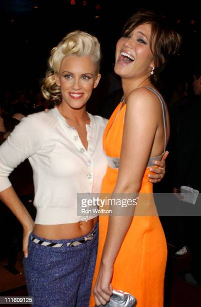 Jenny McCarthy and Mandy Moore during 32nd Annual American Music Awards Backstage and Audience at Shrine Auditorium in Los Angeles California United...