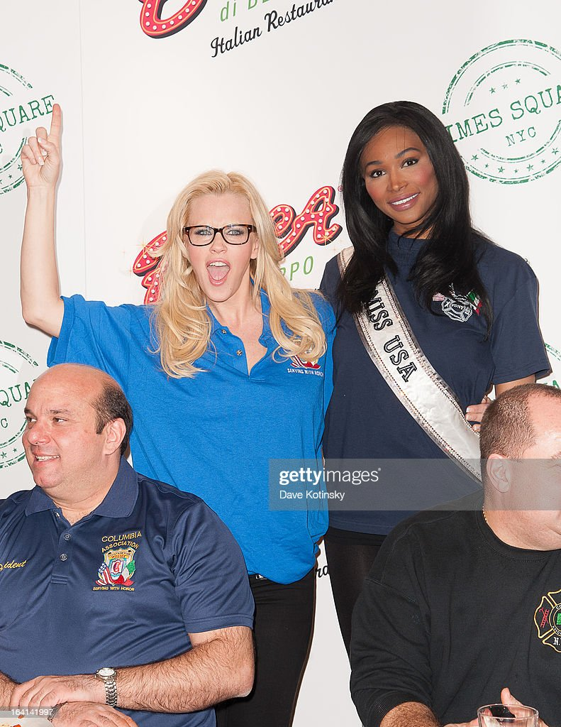 Jenny McCarthy and Miss USA 2012, Nana Meriwether attends the 2013 National Ravioli Day Pasta Eating Contest at Buca di Beppo on March 20, 2013 in New York City.