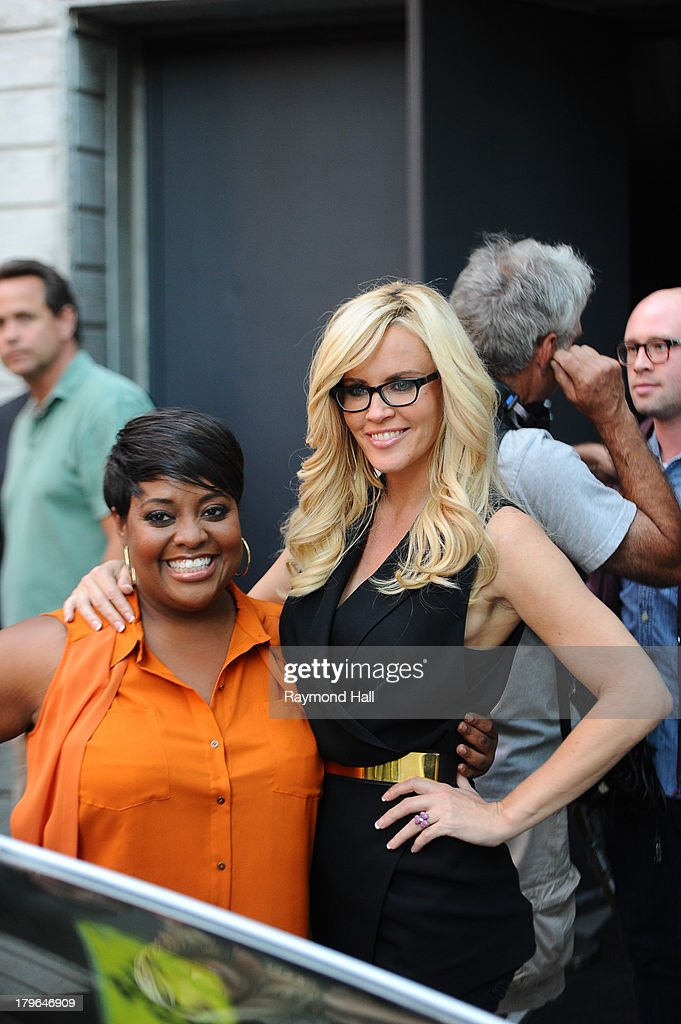 Jenny McCarthy and Sherri Shepherd are seen in Soho on September 5, 2013 in New York City.