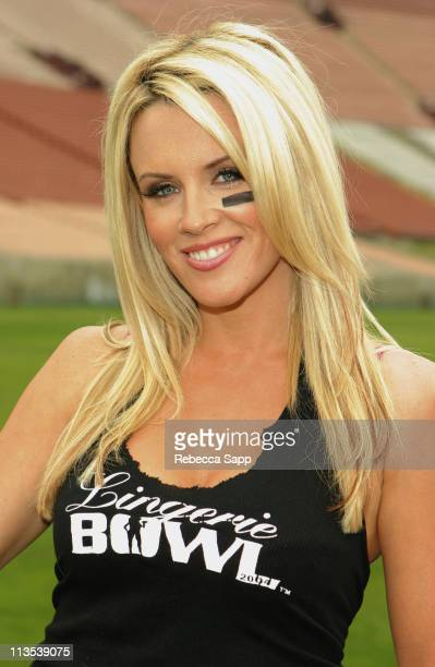 Jenny McCarthy during Lingerie Bowl III Press Conference at Los Angeles Memorial Coliseum in Los Angeles California United States
