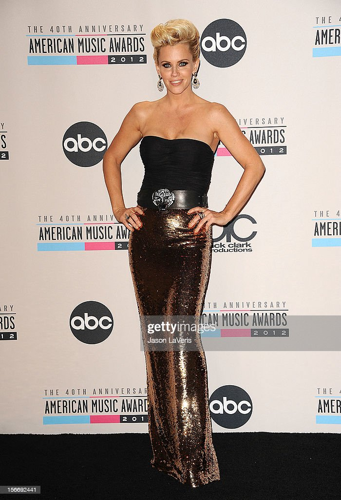 Jenny McCarthy poses in the press room at the 40th American Music Awards at Nokia Theatre L.A. Live on November 18, 2012 in Los Angeles, California.