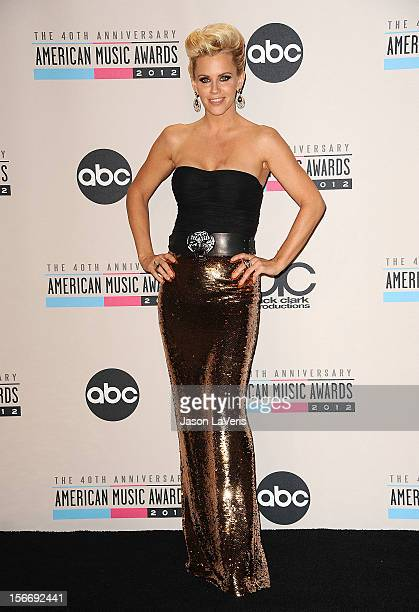 Jenny McCarthy poses in the press room at the 40th American Music Awards at Nokia Theatre LA Live on November 18 2012 in Los Angeles California