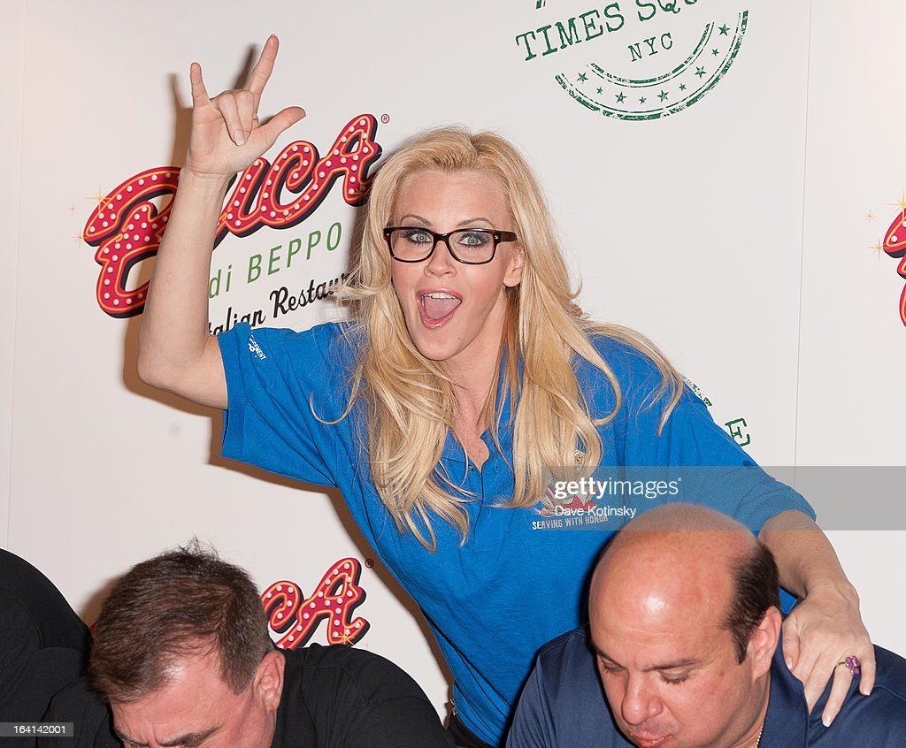 <a gi-track='captionPersonalityLinkClicked' href=/galleries/search?phrase=Jenny+McCarthy&family=editorial&specificpeople=202900 ng-click='$event.stopPropagation()'>Jenny McCarthy</a> (C) with members of the NYPD Columbia Association attends the 2013 National Ravioli Day Pasta Eating Contest at Buca di Beppo on March 20, 2013 in New York City.