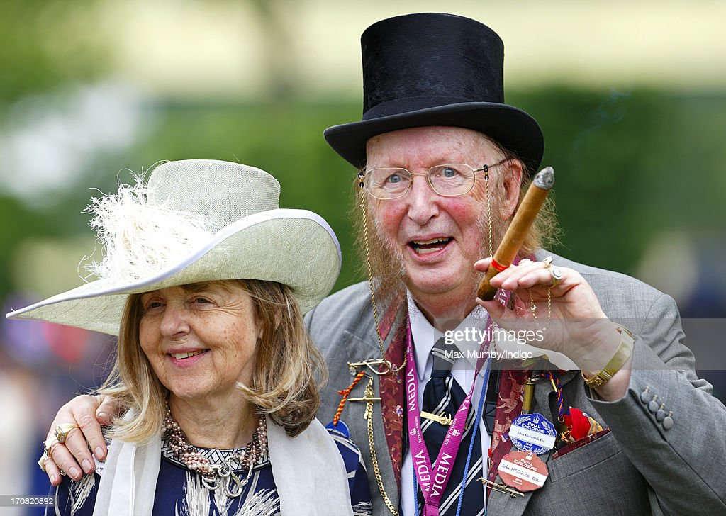 Jenny McCririck and <a gi-track='captionPersonalityLinkClicked' href=/galleries/search?phrase=John+McCririck&family=editorial&specificpeople=210994 ng-click='$event.stopPropagation()'>John McCririck</a> attend Day 1 of Royal Ascot at Ascot Racecourse on June 18, 2013 in Ascot, England.
