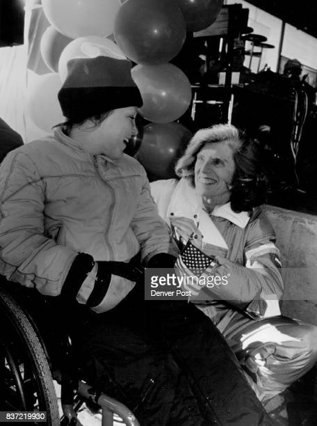 Jenny McIntosh 11 is special Olympian is greeted by Mrs Eunice Shriver JFK's Sister at opening of events at Copper MTN Credit The Denver Post