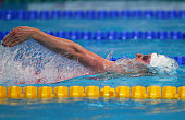 Jenny Mensing of Germany competes in the Women's 200m Backstroke heats on day fourteen of the 16th FINA World Championships at the Kazan Arena on...