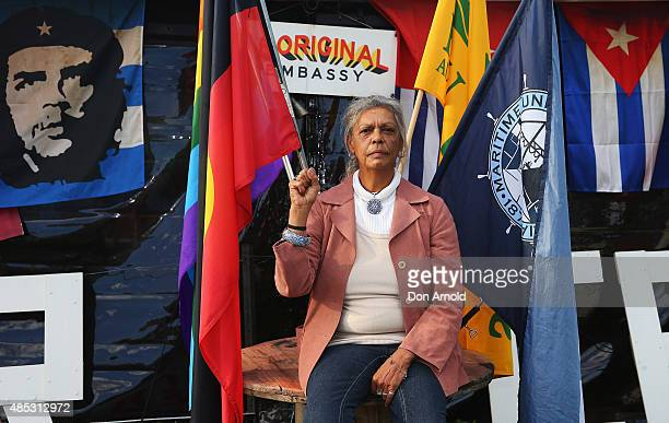 Jenny Munro poses against inside the tent embassy on August 27 2015 in Sydney Australia The tent embassy was established in March 2014 in protest...