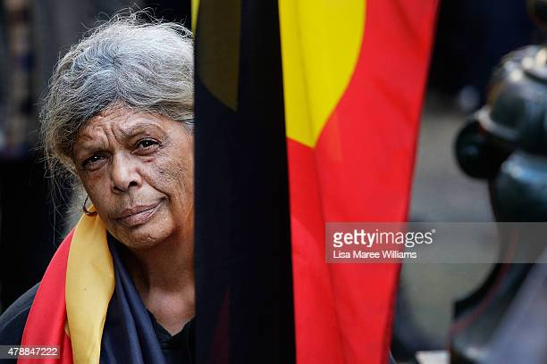 Jenny Munroe attends a protest at Sydney Town Hall against the Governments treatment of Aboriginals on June 28 2015 in Sydney Australia A large...