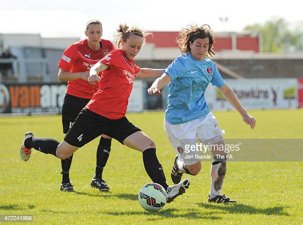 Jenny Newman of Charlton Athletic Women's FC battles for the ball with Becky Lee of Sheffield FC Ladies during the FA Women's Premier League Cup...