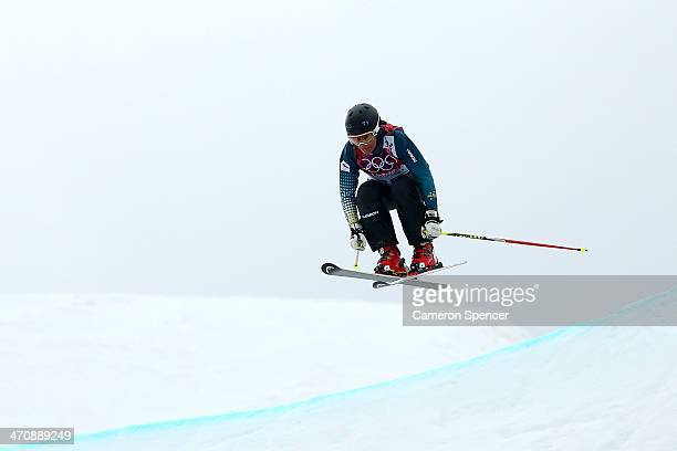 Jenny Owens of Australia competes in the Freestyle Skiing Womens' Ski Cross Seeding on day 14 of the 2014 Winter Olympics at Rosa Khutor Extreme Park...