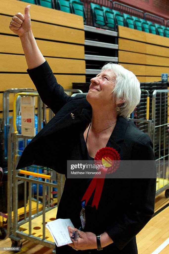 Jenny Rathbone Labour AM for Cardiff Central celebrates after retaining her seat during the National Assembly for Wales election count at the Sport Wales National Centre on May 06, 2016 in Cardiff, Wales. Yesterday the UK went to the polls to vote for assembly members, councillors, mayors and police commissioners.