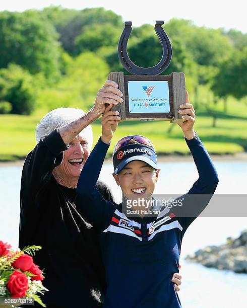 Jenny Shin celebrates with LPGA legend Kathy Whitworth after Shin's twostroke victory at the Volunteers of America Texas Shootout at Las Colinas...