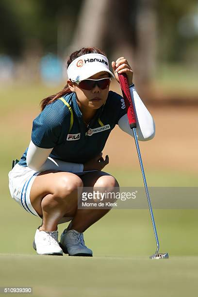 Jenny Shin competes during day one of the ISPS Handa Women's Australian Open at The Grange GC on February 18 2016 in Adelaide Australia
