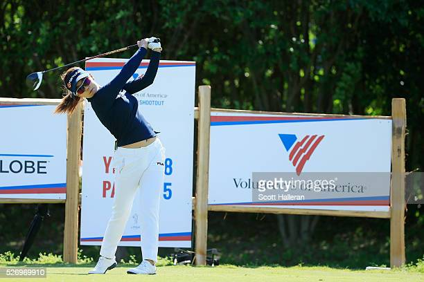Jenny Shin hits her tee shot on the 18th hole during the final round of the Volunteers of America Texas Shootout at Las Colinas Country Club on May 1...