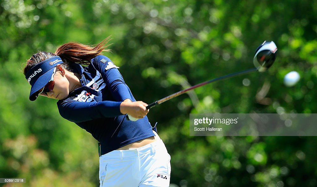 <a gi-track='captionPersonalityLinkClicked' href=/galleries/search?phrase=Jenny+Shin&family=editorial&specificpeople=5416439 ng-click='$event.stopPropagation()'>Jenny Shin</a> hits her tee shot on the seventh hole during the final round of the Volunteers of America Texas Shootout at Las Colinas Country Club on May 1, 2016 in Irving, Texas.