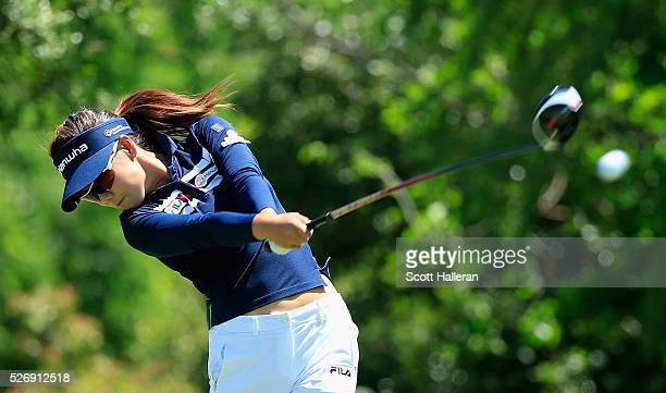 Jenny Shin hits her tee shot on the seventh hole during the final round of the Volunteers of America Texas Shootout at Las Colinas Country Club on...