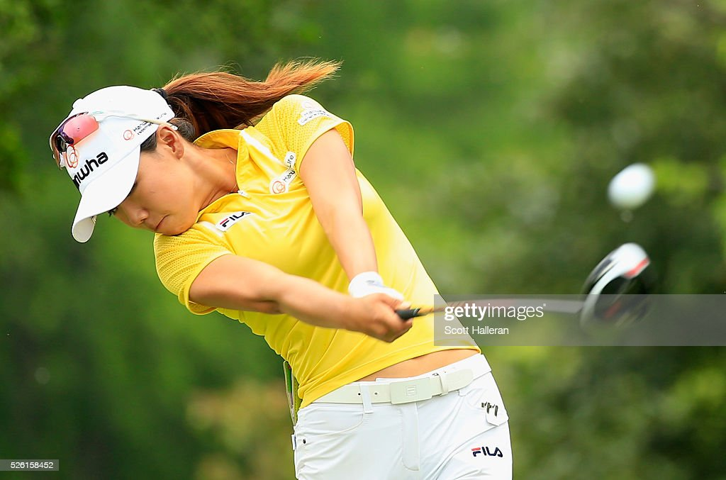 Jenny Shin hits her tee shot on the seventh hole during the second round of the Volunteers of America Texas Shootout at Las Colinas Country Club on April 29, 2016 in Irving, Texas.