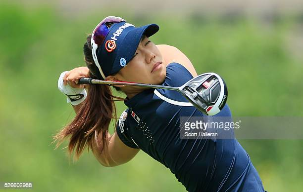Jenny Shin hits her tee shot on the third hole during the third round of the Volunteers of America Texas Shootout at Las Colinas Country Club on...