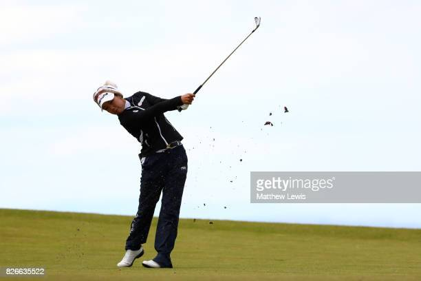 Jenny Shin of Korea hits her second shot on the 4th hole during the third round of the Ricoh Women's British Open at Kingsbarns Golf Links on August...