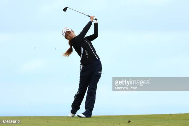 Jenny Shin of Korea hits her second shot on the 4th hole during the final round of the Ricoh Women's British Open at Kingsbarns Golf Links on August...