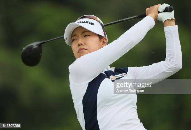 Jenny Shin of Korea in action during the second round of the HSBC Women's Champions on the Tanjong Course at Sentosa Golf Club on March 3 2017 in...