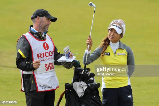 Jenny Shin of Korea picks a club on the 18th hole during the second round of the Ricoh Women's British Open at Kingsbarns Golf Links on August 4 2017...