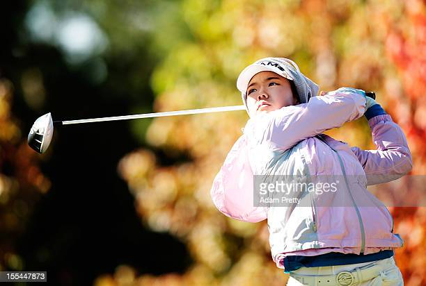 Jenny Shin of of the USA tees off during the final round of the Mizuno Classic at Kintetsu Kashikojima Country Club on November 4 2012 in Shima Japan